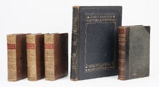 Three 19th century leather bound books; 'Cooks Voyages' 3 volumes,