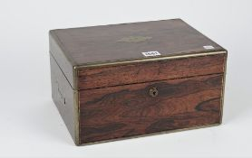 A Victorian brass bound rosewood travelling toilet/jewellery box,