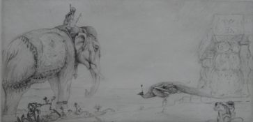 Edward Julius Detmold (1883-1957), Elephant and peacock, etching, signed in pencil, 13.5cm x 27cm.