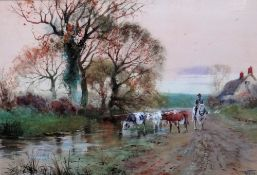 Henry Charles Fox (1855 - 1929), Cattle watering, watercolour and body colour, signed and dated '95,