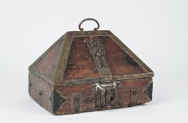 An 18th century Indo French brass mounted hardwood casket, 27cm wide x 19cm high.