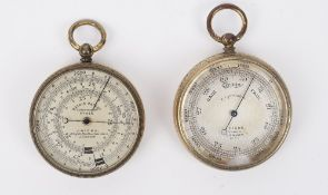 An early 20th century brass cased pocket barometer/compass compendium by J.