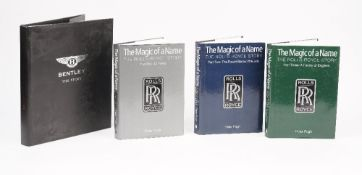 Automobile interest; 'The Magic of a Name, The Rolls Royce Story' by Peter Pugh, three volumes,