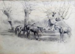 English school (20th century), Horses in a landscape; Horse, foal and groom, a pair, pencil,