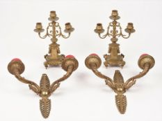 A pair of French 19th century style gilt metal two branch wall appliques,
