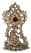 A 19th century giltwood carved pocket watch holder,