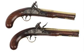 A pair of Ketland and Co flintlock pistols, early 19th century, the brass barrels, 20.