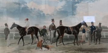 After Harry Hall, The Great Match, aquatint by Charles Hunt with hand colouring, 65cm x 113cm.