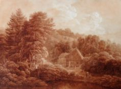 German School (c.1800), A cottage in a wooded landscape, sepia watercolour, unframed, 38cm x 51.5cm.