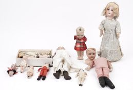 A quantity of early 20th century porcelain dolls, including Armand Marseille,