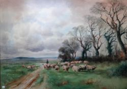 Attributed to Henry Charles Fox (1855-1929), Sheep and Shepherd, watercolour and gouache,