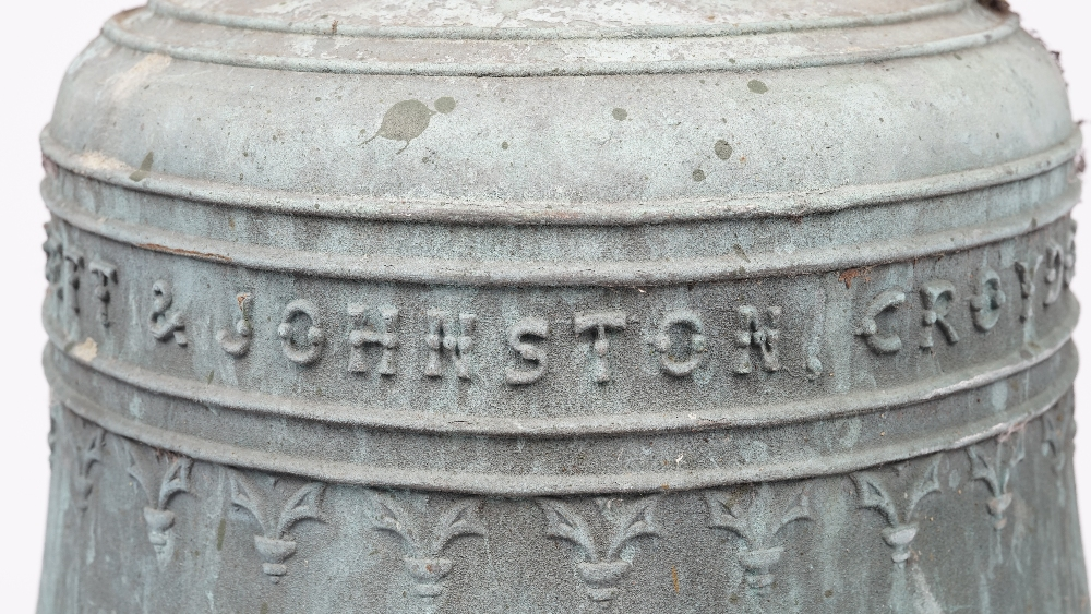Lot 1395 - A large bronze bell, verdigris patination, detailed 'GILLETT & JOHNSTON, CROYDON 1925', 35cm high,