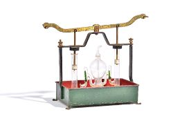 A glass and brass demonstration pump, 19th century,