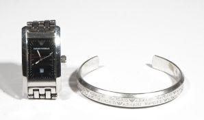 Emporio Armani; a gentleman's stainless steel bracelet wristwatch,