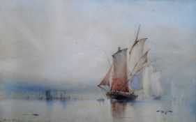Barlow Moore (1834-1897), Boats in still waters, watercolour, signed,