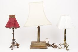 A Victorian style gilt metal table lamp of fluted column form, 60cm high overall,