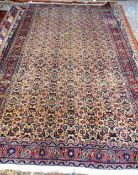 A Mashhad carpet, Persian, the pale fawn field with an allover herate design; a burgundy rosette,