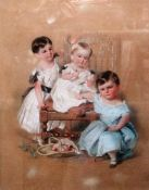 ** Gilbert (19th century), Portrait of three children, coloured chalks, signed and dated 1841-2,