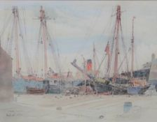Claude Muncaster (1903-1974), Portsmouth Shipping, watercolour,