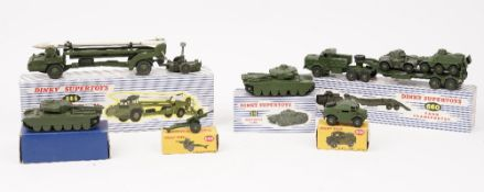 Dinky military vehicles, including; 660 Tank transporter, 666 Missile erector vehicle,