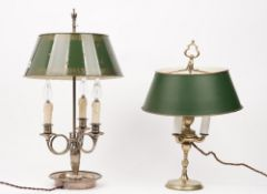 An early 20th century silver plated buillotte table lamp, with adjustable tin shade, 60cm,
