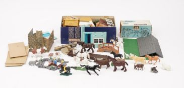 A quantity of Britains Farmyard animals and other plastic accessories, (qty).