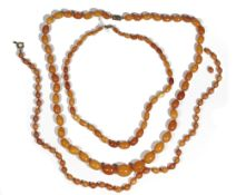 A butterscotch amber bead necklace of graduated design,