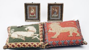 Two woolwork cushions depicting a unicorn and a lion, 40cm x 40cm,