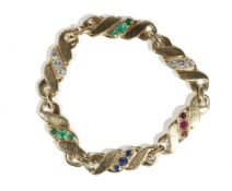 A gold, emerald, sapphire, ruby and diamond-set bracelet, by M Gerard,