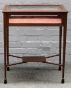 An Edwardian inlaid mahogany and satinwood rectangular bijouterie table,