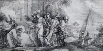 Manner of Giuseppe Bazzani, Jesus and the woman taken in adultery, monochrome watercolour,