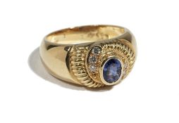 An 18ct gold, sapphire and diamond-set dress ring of bombe design,