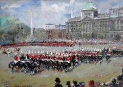 John Victor Emms (1912-? ), A military parade, gouache, signed, 25.5cm x 35cm.