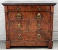 A 19th century French marble top commode, with mahogany four drawer base, 96cm wide x 88cm high.