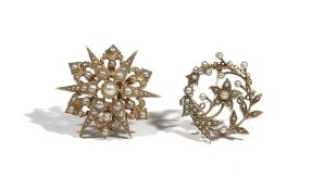 A Victorian seed pearl-set pendant brooch of star design, set in yellow precious metal,