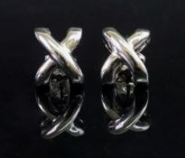 A pair of 18ct white gold earstuds, of c