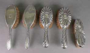 A pair of Victorian silver backed hair b