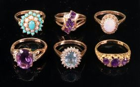 A collection of six 9ct gold and gem-set