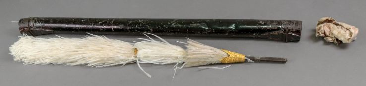 A Victorian white feather plume, with gi
