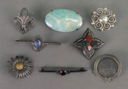 A Victorian circular silver brooch, Post
