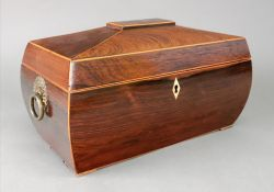 A late Regency rosewood boxwood banded s
