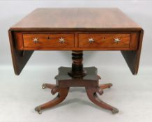 A late Regency and later mahogany ebony banded sofa table, altered, with two frieze drawers,