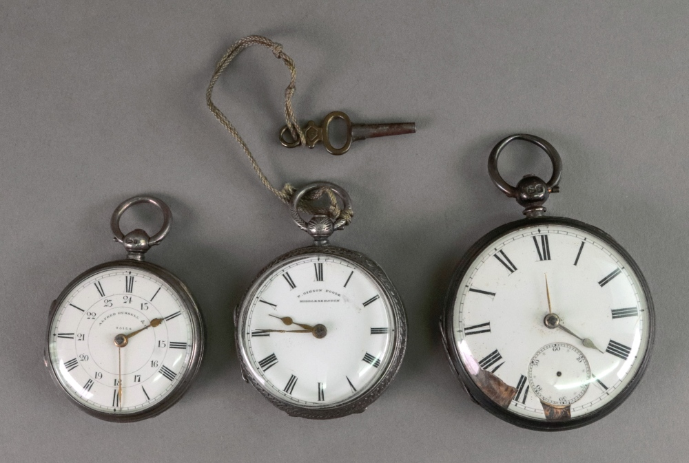 Three Victorian silver cased open face p
