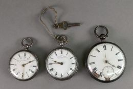 Three Victorian silver cased open face p