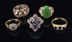 An 18ct gold, emerald and diamond dress