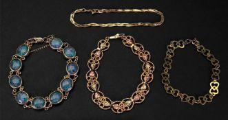 A 9ct oval link bracelet, each link set