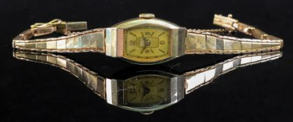 A lady's 14ct gold cased wristwatch, the