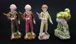 Three Royal Worcester figures, The Parakeet 3087, 18cm high,