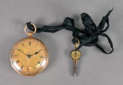 A Victorian 18ct gold open face pocket watch, hallmarked for London 1850,