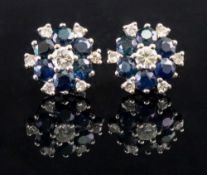 A pair of 18ct white gold sapphire and d